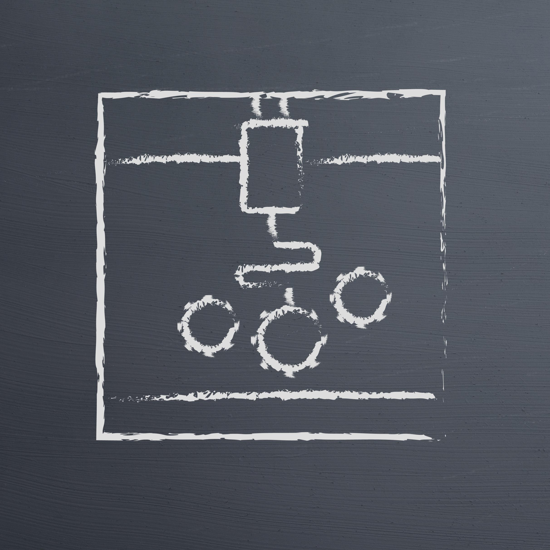 3D Printer printing gears draw on chalkboard